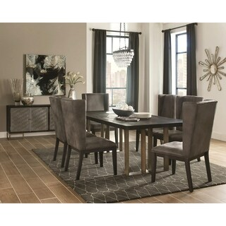 New Modern Design Black Wood Top Dining Set with Grey Wing Chairs and Storage Server