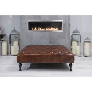 Elements Fine Home Furnishings Drake Brown Rustic Top Grain Leather Square Cocktail Ottoman