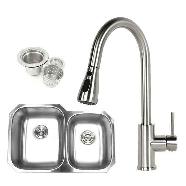 Shop 32 inch Undermount 60/40 Double Bowl 18 gauge Stainless Steel  Kitchen Sink Faucet on copper bowl sink, hammered copper farmhouse sink, 24 bathroom vanity with sink, cast iron undermount double sink, 24 x 16 sink, 70 30 undermount stainless steel sink,