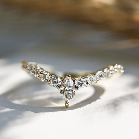 Annello by Kobelli 14k Gold 1/2ct TDW Chevron Marquise Point Diamond Ring Ladies Wedding Band
