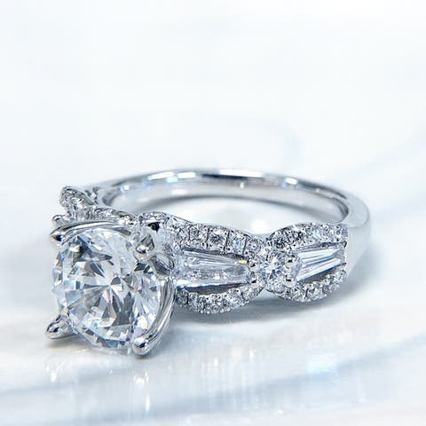 Lihara and Co. 18k White Gold 2/3ct TDW White Diamond Semi-Mount Engagement Ring (G-H, VS1-VS2)