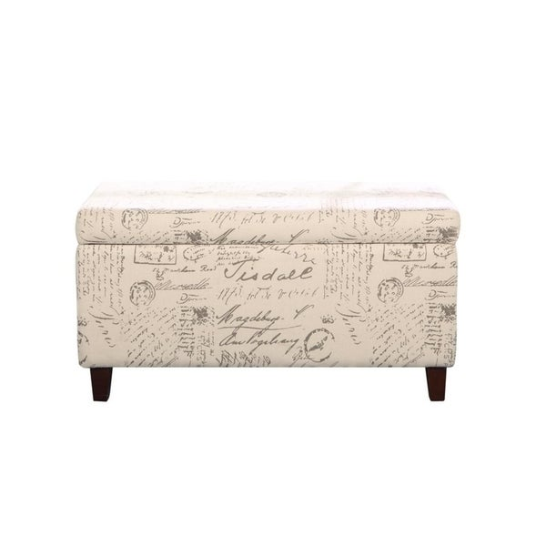 Vintage Script Patterned Deep Storage Ottoman Bench