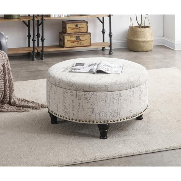 Pleasant Shop Round Storage Ottoman With Nailhead Vintage Script Caraccident5 Cool Chair Designs And Ideas Caraccident5Info