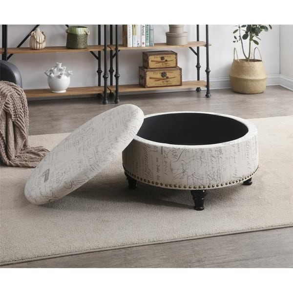 Amazing Shop Round Storage Ottoman With Nailhead Vintage Script Caraccident5 Cool Chair Designs And Ideas Caraccident5Info