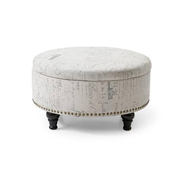 Brilliant Shop Round Storage Ottoman With Nailhead Vintage Script Caraccident5 Cool Chair Designs And Ideas Caraccident5Info