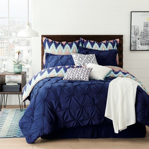 Aztec Chevron Blue 10-Piece South Western Reversible Comforter Set