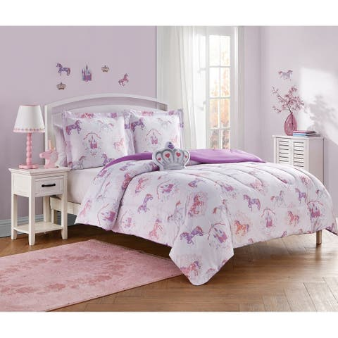Legends and Fairy Tales Purple/Pink 4-Piece Comforter Set Featuring Wall Decals