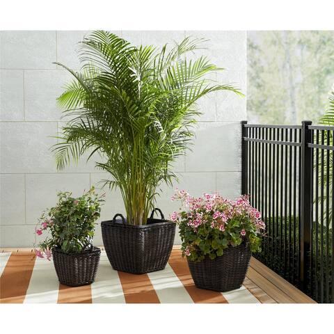 Cosco Avenue Greene Outdoor Nesting Pot Planter 3-Piece Basket Box Set