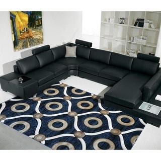 "Rug Tycoon Abstract Modern Contemporary Blue Rug - 2'0""x7'2""rectangular runner"
