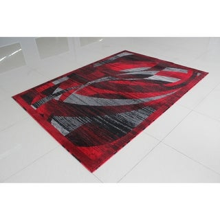 """Rug Tycoon Abstract Modern Contemporary Red Rug - 7'11""""x9'10""""rectangular"""