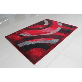 "Rug Tycoon Abstract Modern Contemporary Red Rug - 7'11""x9'10""rectangular"
