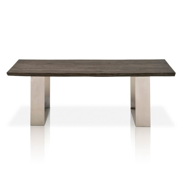 Rustic Oak Wood Coffee Table With U Shaped Legs Charcoal Oak Brown