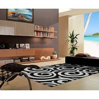 "Rug Tycoon Abstract Modern Contemporary Black Rug - 7'11""x9'10""rectangular"