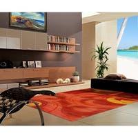 "Rug Tycoon Abstract Modern Contemporary Orange Rug - 7'11""x9'10""rectangular"