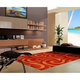 "Rug Tycoon Abstract Modern Contemporary Orange Rug - 5'3""x7'2""rectangular"