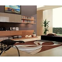Rug Tycoon Brown Abstract Contemporary Area Rug - 7'11 x 9'10