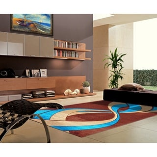 "Rug Tycoon Abstract Modern Contemporary Blue Rug - 2'7""x7'2""rectangular runner"