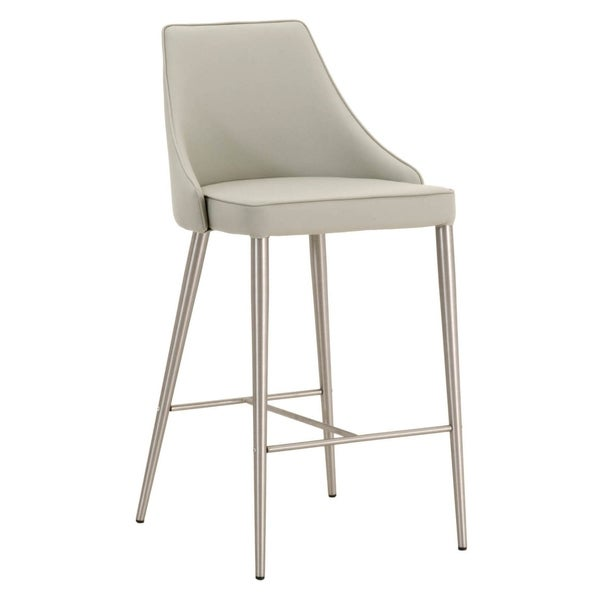 Shop Upholstered Bar Stool With Chrome Legs Light Gray Free Shipping Today