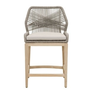 Trendy Wooven Upholstered Loom Outdoor Counter Stool, Gray