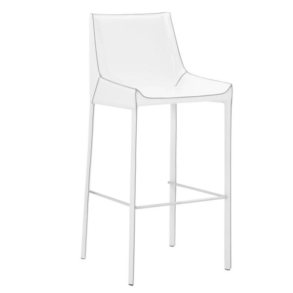 Shop Leatherette Bar Stool With Footrest Set Of 2 White