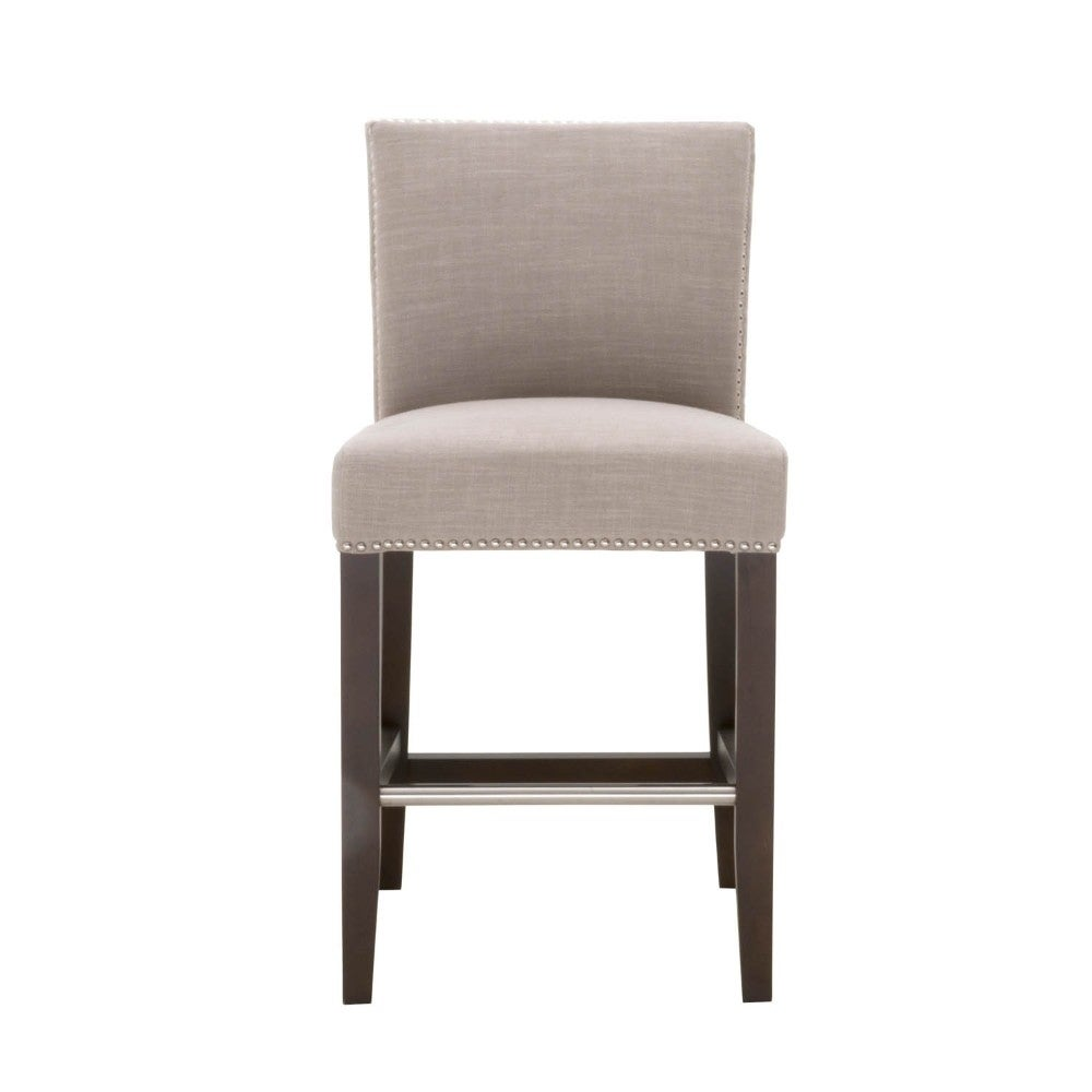 Phenomenal 26 Inch Wood Barstool With Light Grey Padded Fabric Upholstery Uwap Interior Chair Design Uwaporg