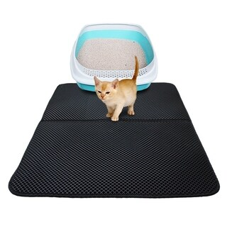 Washable EVA Cat Litter Mat Black Foldable Waterproof Double-Layer