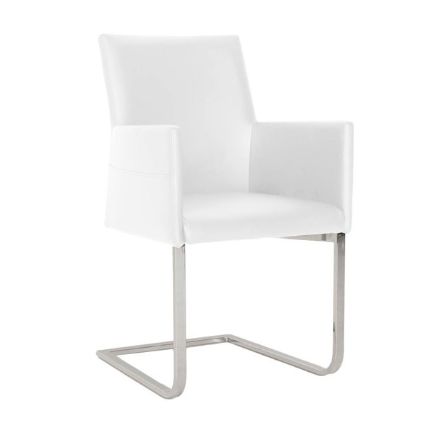 Shop Leather Upholstered Dining Chair With Elevated Arms