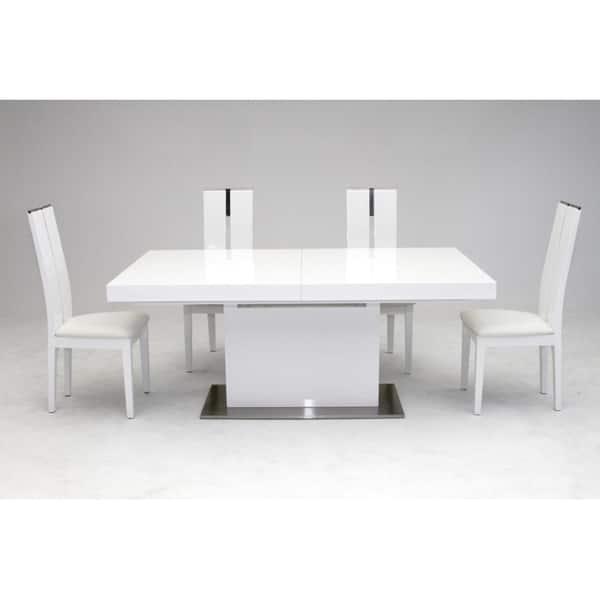 Wondrous Shop Modrest Zenith Modern White Extendable Dining Table Short Links Chair Design For Home Short Linksinfo