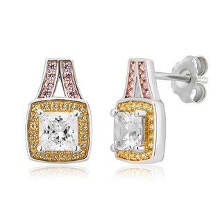 Divina Sterling Silver Created White, Yellow and Pink Cubic Zirconia Halo Earrings