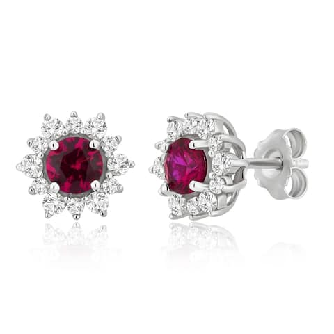 Divina Sterling Silver Created Ruby and White Sapphire Cubic Zirconia Halo Earrings