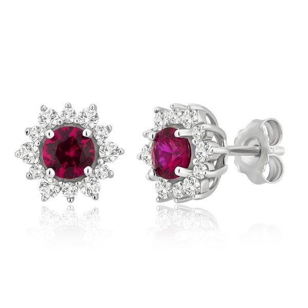 2CT Princess Round Ruby Red Created Diamond Huggie Earrings 14K White Gold
