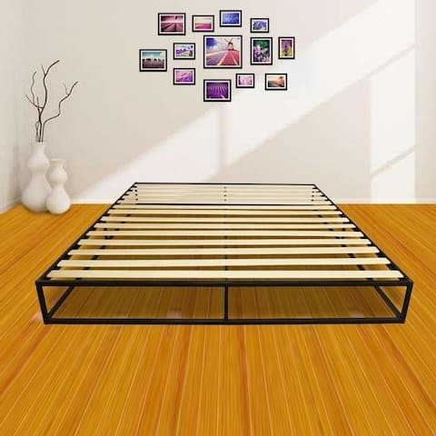 Porch & Den Chatel Wood Slat Mattress Metal Platform Bed Frame