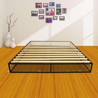 Porch & Den Chatel Wood Slat Mattress Metal Platform Bed Frame