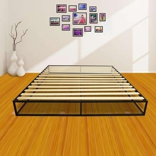 Beau Twin/Full/Queen/King Wood Slat Mattress Metal Platform Bed Frame