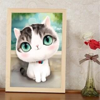 DIY Mosaic Diamond Plated Embroidery Cartoon Cats Painting 40x30cm