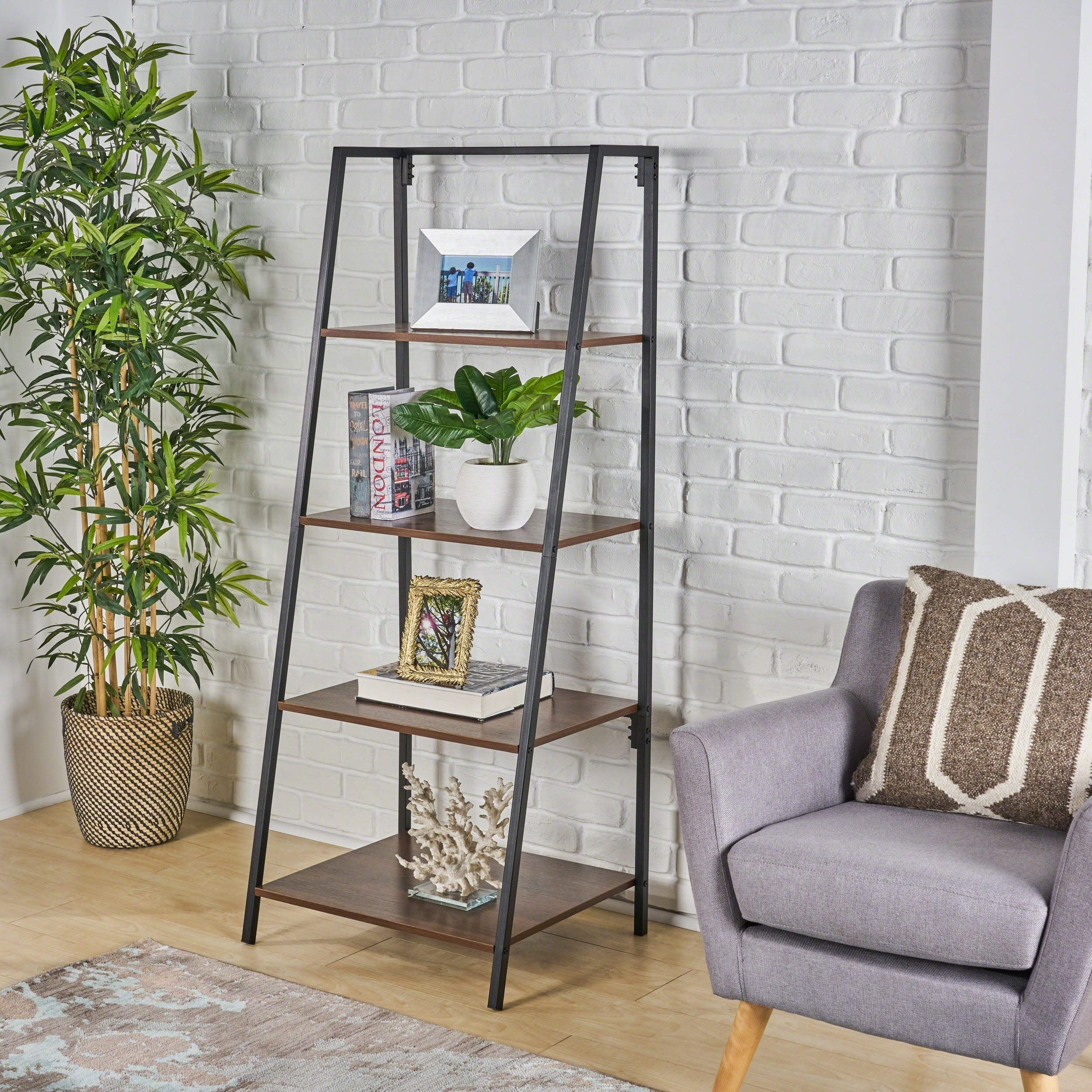 Euclid Industrial 4 Shelf A Frame Faux Wood Bookcase By Christopher Knight Home 23 75 W X 19 75 D X 59 25 H
