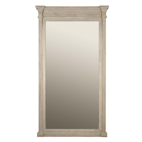 Floor Mirror Featuring Intricate Detail Along Top And Bottom, Brown - Oak Finish