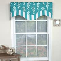 RLF Home Sea Horse Double Face Window Valance - Turquoise