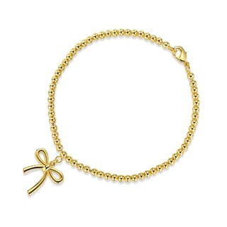 Gold Plated Bow Charm Bracelet