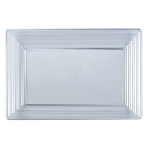 """Plastic Serving Tray Heavyweight Rectangular Platter 9""""X13"""" Disposable or Reusable - For Party's and Weddings"""