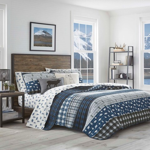 Eddie Bauer Blue Creek Plaid Quilt Sham Set