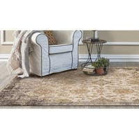 KAS Manor Ivory/Taupe Distressed Empire Square Rug - 6'7 x 6'7
