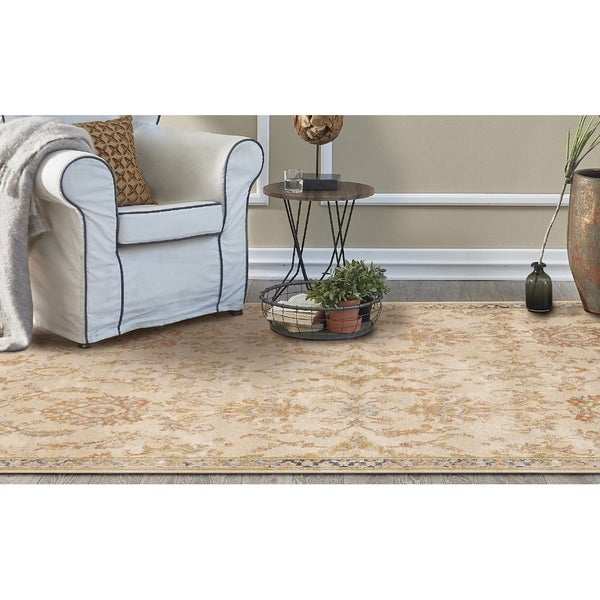 KAS Manor Ivory Distressed Morrison Rug