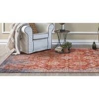 KAS Manor Spice/Blue Distressed Expressions Square Rug - 6'7 x 6'7