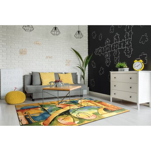 Porch & Den Barcelona Rainbow Abstract Area Rug