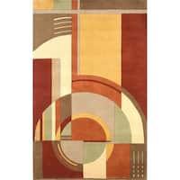 KAS Signature Rust/Coffee Art Deco Rug - 9'3 x 13'3