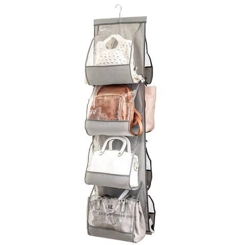 Hanging Purse Organizer 8 Clear Vinyl Pockets For Purses Handbags Etc