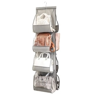 Hanging Purse Organizer 8 Clear Vinyl Pockets For Purses Handbags Etc