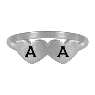 TwoBirch Sterling Silver Hand stamped Double Heart Initial Ring