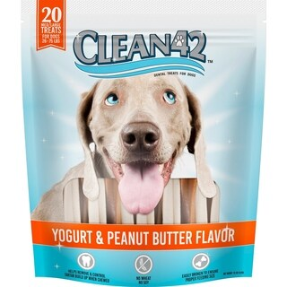 Clean 42 Yogurt and Peanut Butter Dental Treats for Dogs (20 count bag)